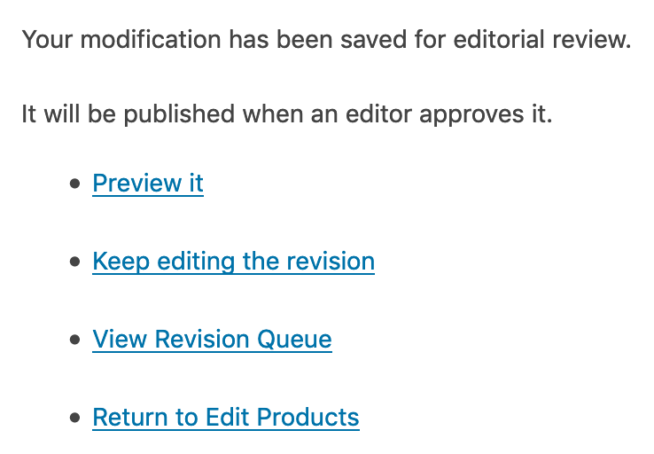 WooCommerce message in PublishPress Revisions Pro