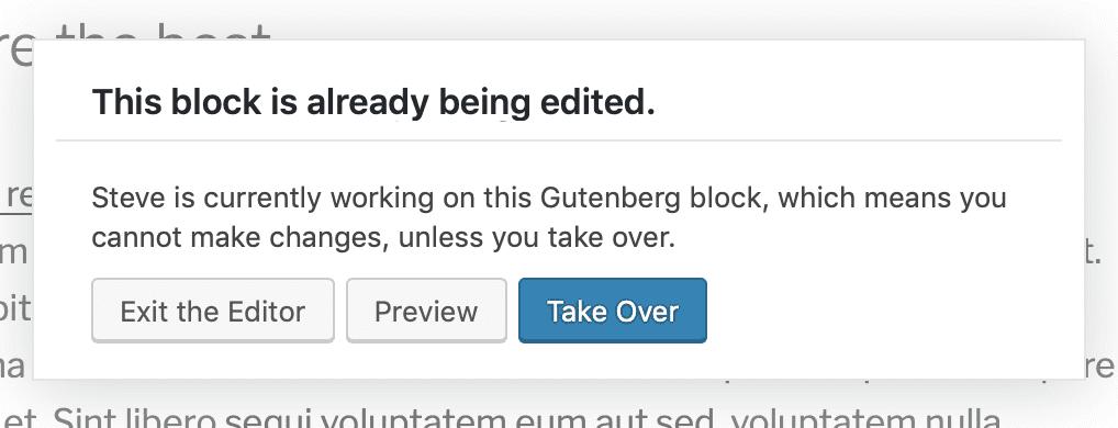 Post-locking in the Gutenberg editor for blocks