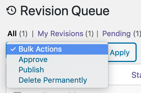 Bulk approval interface in PublishPress Revisions