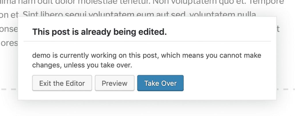 Post-locking in the Gutenberg editor