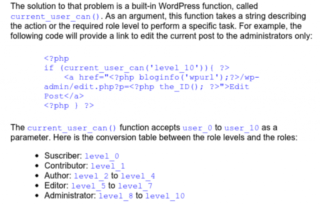 WordPress code with role levels