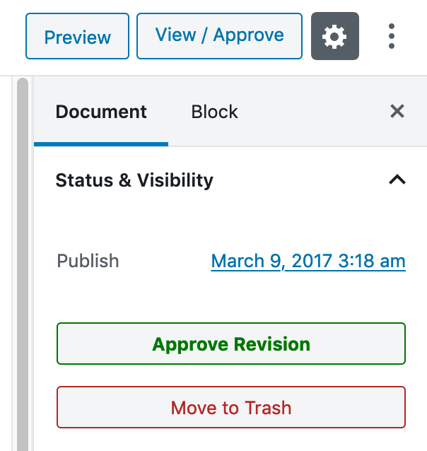 Revision approval interface in PublishPress Revisions