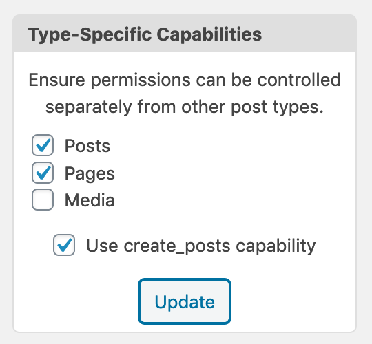 Enable the create posts capability in WordPress