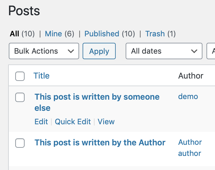 Updated post editing permissions for the Author role