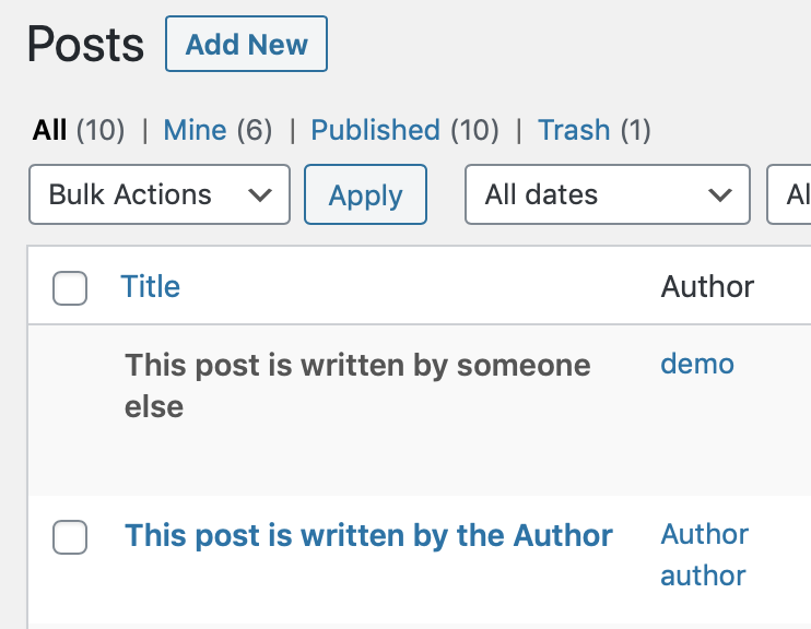 Default post editing permissions for the Author role