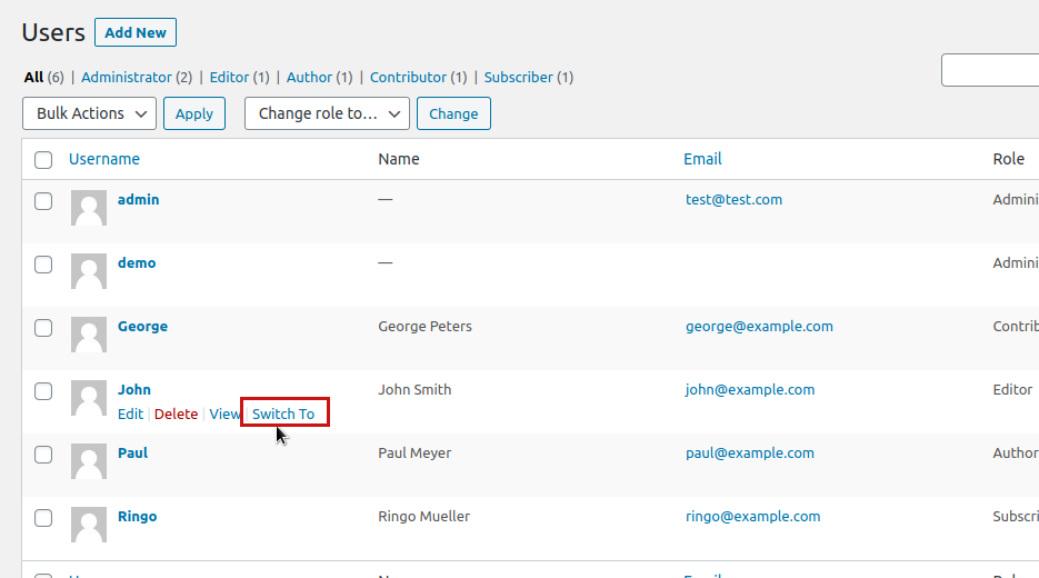 Switch to WordPress users thanks to the User Switching plugin