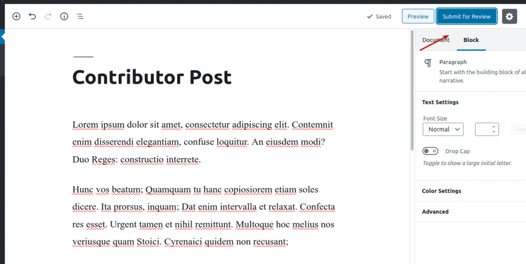 Creating content as a Contributor user