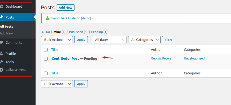 The Posts screen in WordPress as a Contributor