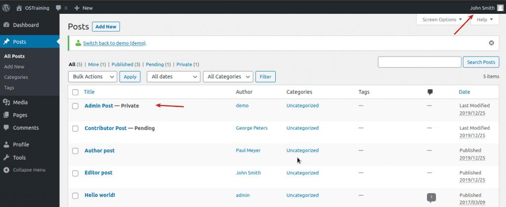 the Posts screen in WordPress as an Editor