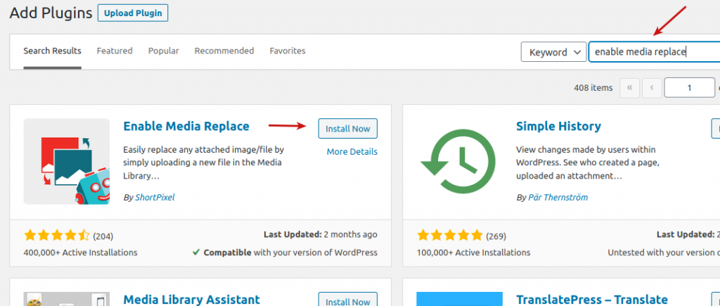 Install the Enable Media Replace plugin