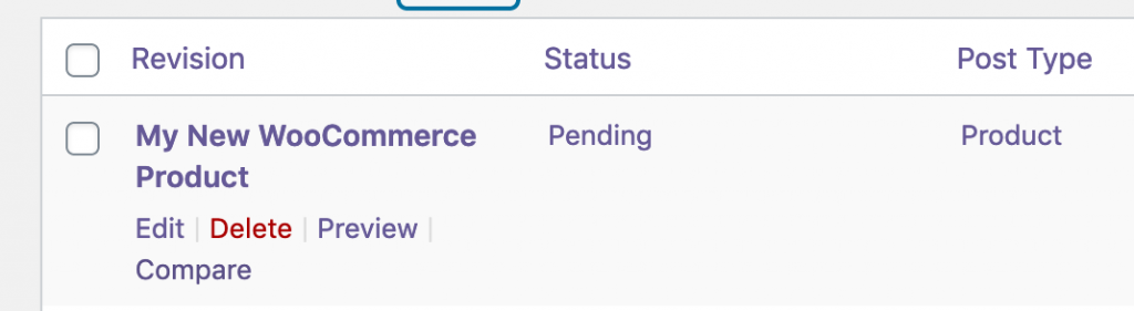 Using the Compare link for WooCommerce product revisions