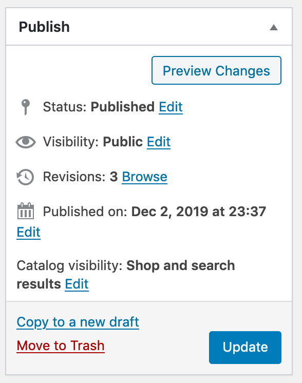 Revisions visible in the sidebar of WordPress