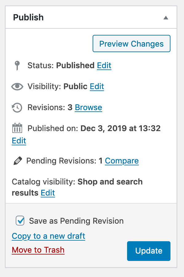 WooCommerce revisions with the PublishPress Revisions plugin