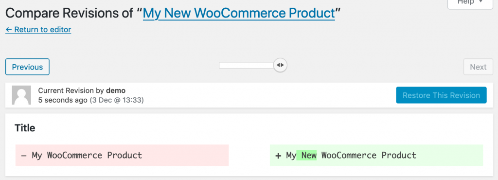 WooCommerce product changes compared side-by-side