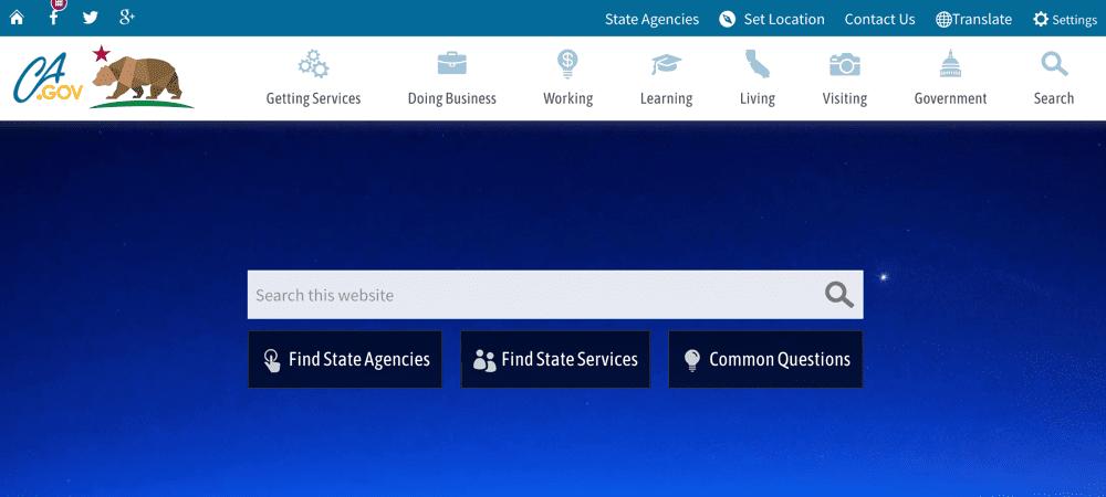 California state website using WordPress