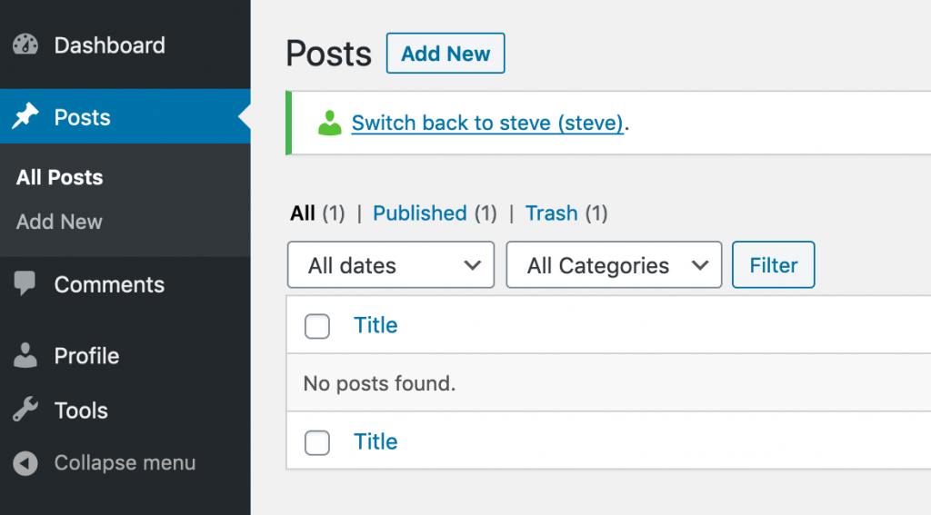 A Contributor user looking at the Posts screen in WordPress