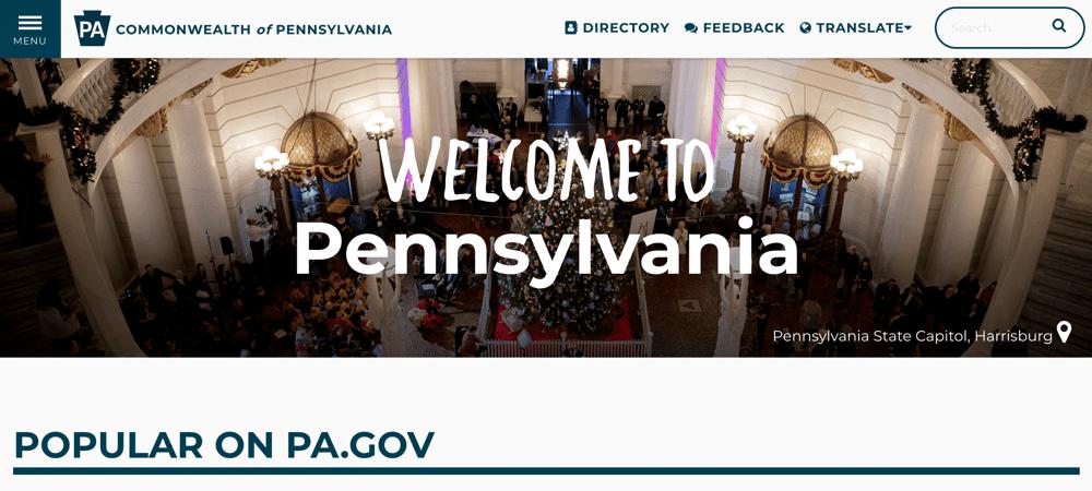 Pennsylvania state website using WordPress