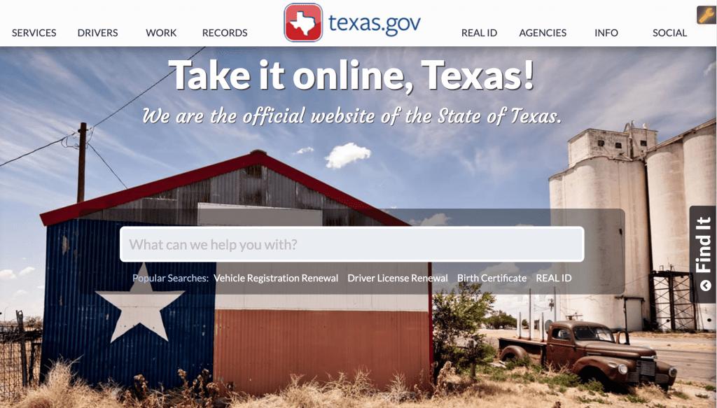 Texas state website using WordPress