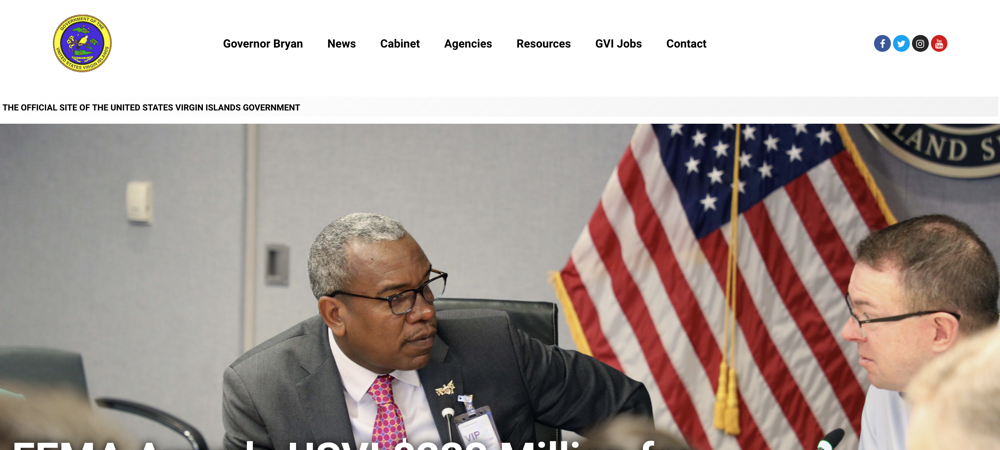 US Virgin Islands website using WordPress