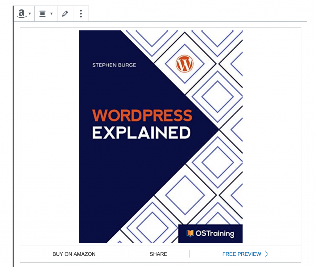 Amazon Kindle book embed in WordPress