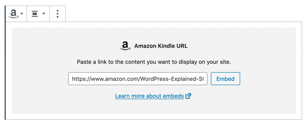 Amazon Kindle URL for Gutenberg in WordPress
