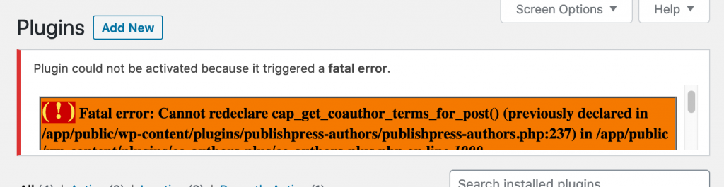 Error with Co-Authors Plus and PublishPress Authors installed