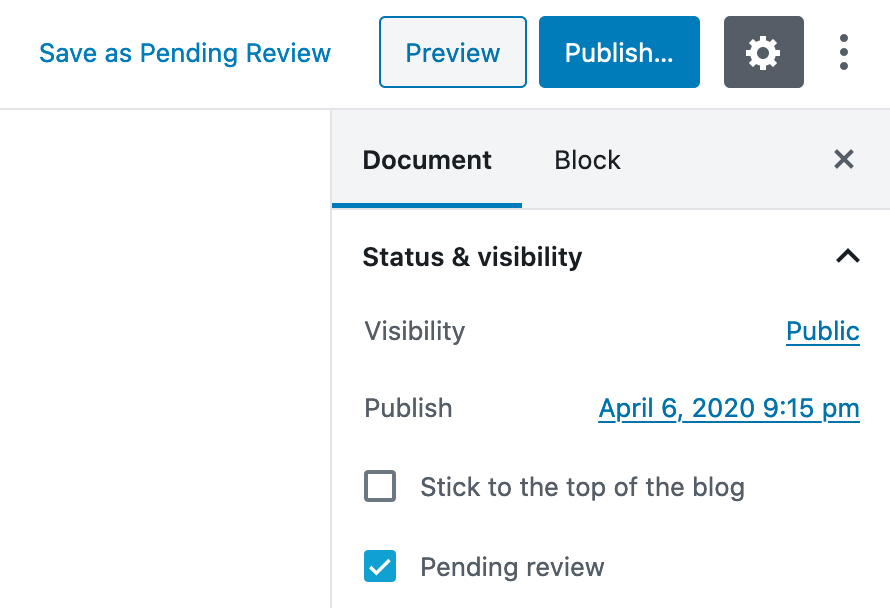 """Click """"Publish"""" or keep the post in """"Pending Review"""" status"""