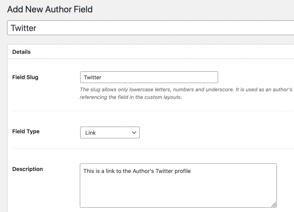 New Author Field