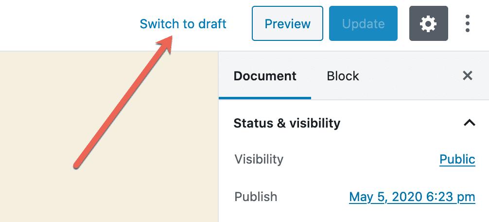 Switch To Draft Status
