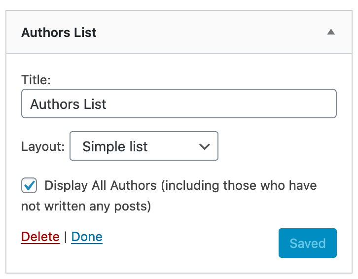Authors List Options