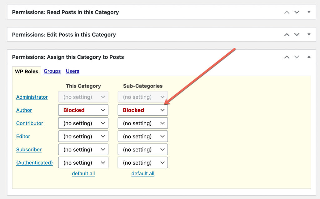 Blocked Category Assign