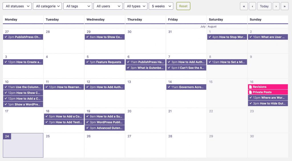 Calendar Main Screen