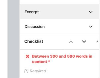 Checklist Words