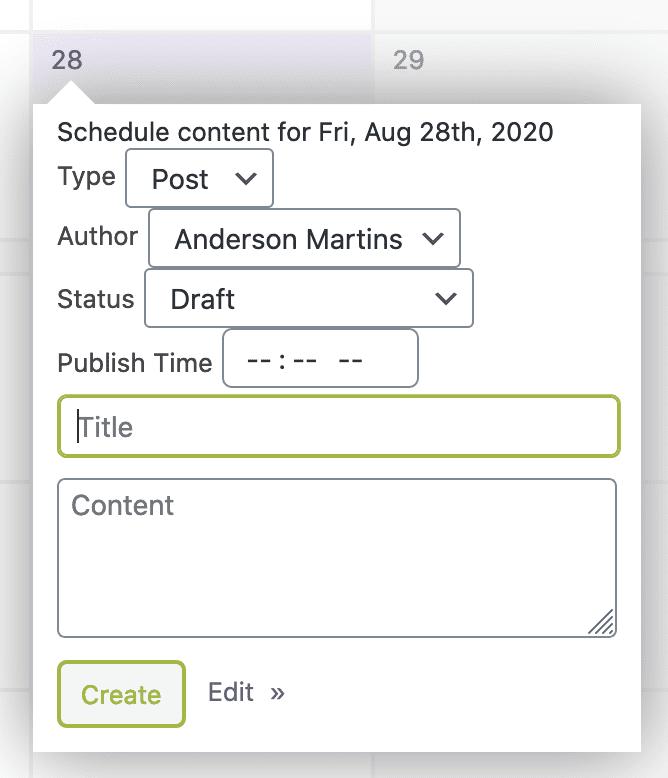 Create New Post Calendar