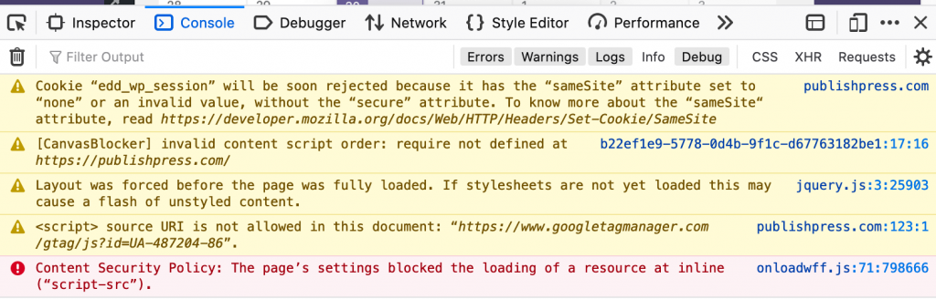 Firefox Errors