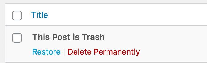 Trash Options