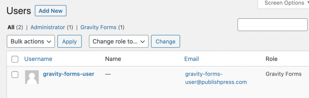 Gravity Forms entries