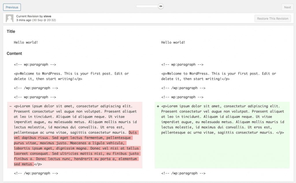 Compare WordPress Revision