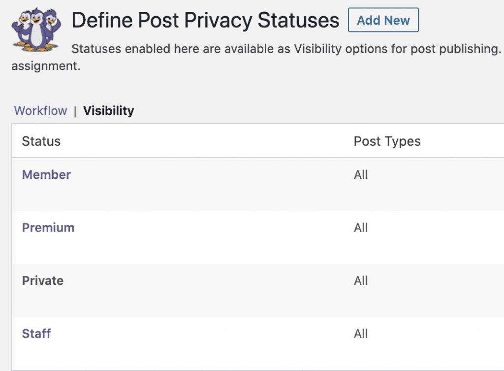 Permissions Post Statuses