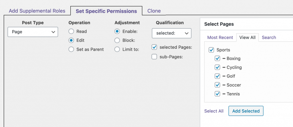 Select Edit Access Editor