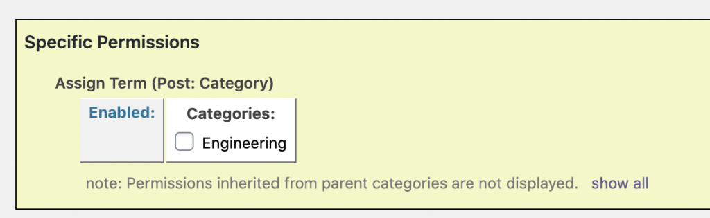 Specific Category Permissions