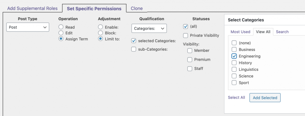 Specific Category Permissions Limit
