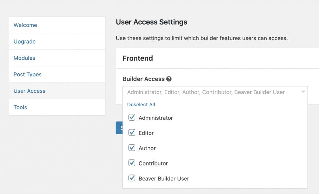 User Access Beaver Builder