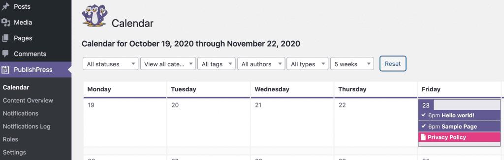 Calendar Screen