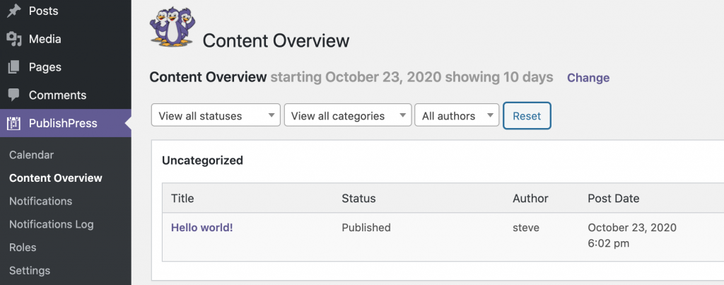 Content Overview Link