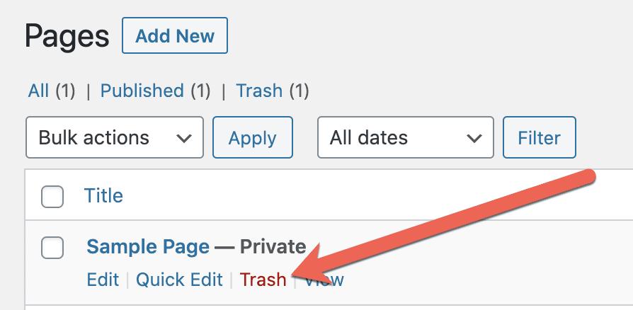 Delete Private Page