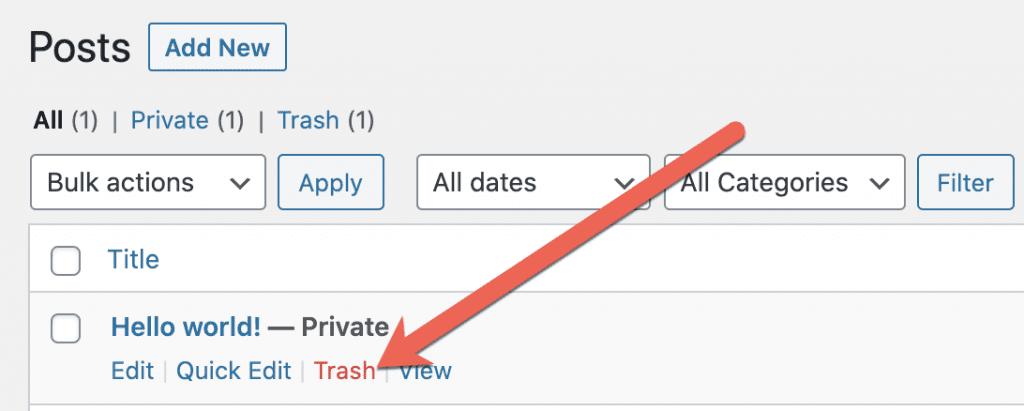 Delete Private Post