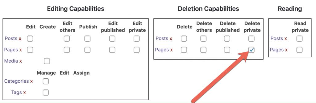Delete Private Pages Box