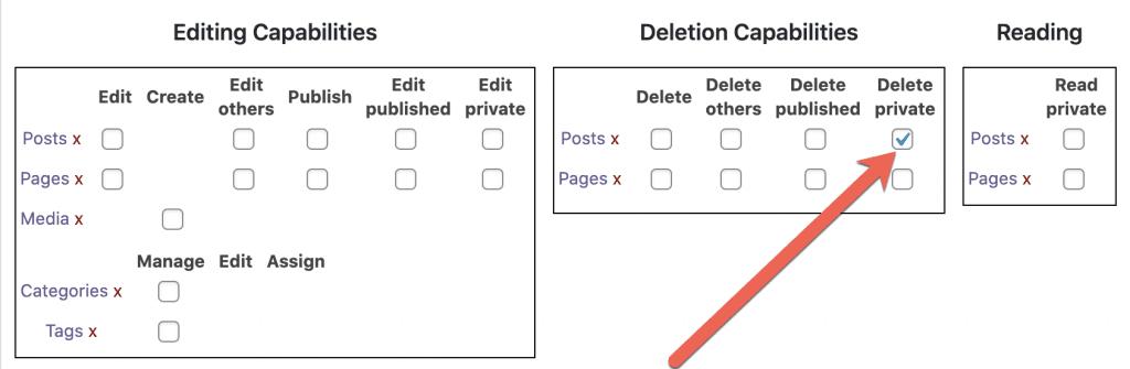 Delete Private Posts Permission