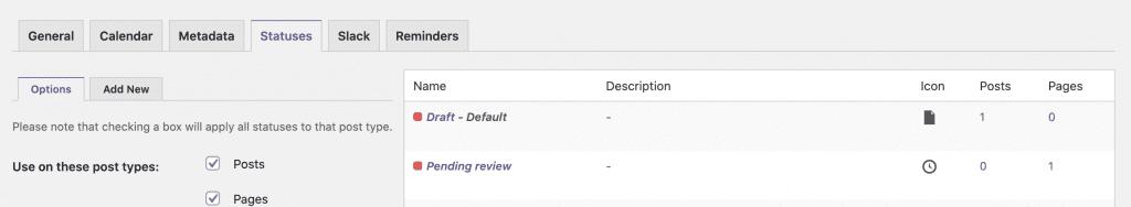 Draft Pending Review Statuses